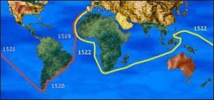 mappa con la rotta della prima circumnavigazione del globo