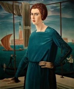 """""""Ritratto della moglie sullo sfondo di Venezia"""" Ubaldo Oppi"""