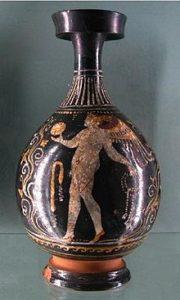 Bottiglia con figura che gioca a palla, IV sec. a.C. (Photo dal web)