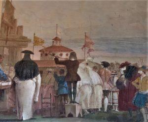 """Affresco """"Il Mondo Nuovo"""" di G.D. Tiepolo conservato in villa Valmarana ai nani (VI)"""