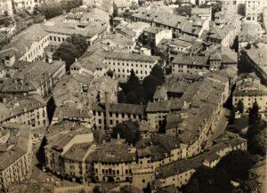 Veduta aerea della zona in cui sorgeva il teatro romano Berga a Vicenza