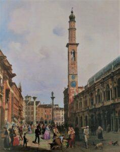 """""""Veduta di piazza dei Signori"""" nel 1845 di Carlo Ferrari. Sono ben visibili i due orologi montati sulla torre Bissara"""