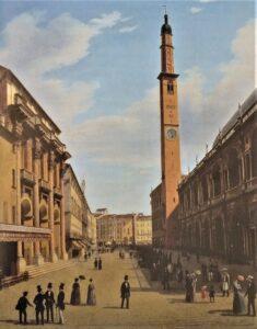 """""""Piazza dei Signori"""" di Federico Castegnaro, 1850. Il secondo orologio è sparito."""