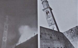"""La torre Bissara durante e dopo il bombardamento del 18 marzo 1945. Foto tratte da Passarin- Sandini """"Obiettivo Vicenza"""""""